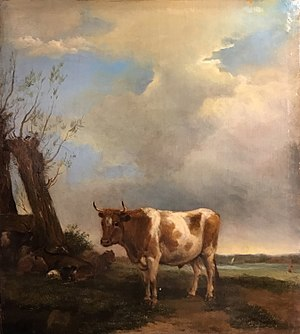 Albert Jansz. Klomp - Image: A Bull in a Meadow with Goats by a Tree