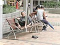 A Old men is sleeping at the seats in Mong Kok.jpg
