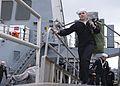 A Sailor departs USS Oscar Austin. (8498336398).jpg