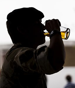 A Soldier Drinks a Pint of Beer on his Return from Afghanistan MOD 45152497