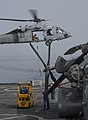 A U.S. Navy MH-60 Seahawk helicopter delivers supplies to the afloat forward staging base USS Ponce (AFSB(I) 15) during International Mine Countermeasures Exercise (IMCMEX) 13 in the U.S. 5th Fleet area 130516-N-PX130-019.jpg