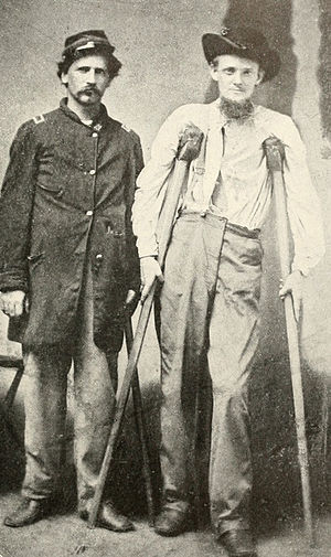 Lewis R. Stegman - Stegman, right, after his wounding at Pine Knob.
