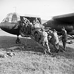 A jeep is loaded aboard a Horsa glider during a large-scale airborne forces exercise, 22 April 1944. H37692.jpg