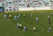 Sydney FC playing Newcastle at Canberra Stadium in 2006