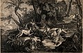 A pack of dogs attack a stag in a forest clearing by a river Wellcome V0023257.jpg