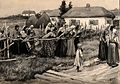 A religious cholera procession in rural Russia. Pen drawing Wellcome V0010495.jpg