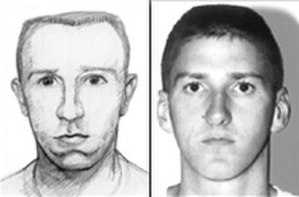 Timothy McVeigh - FBI forensic sketch of McVeigh, and his FBI mugshot