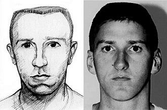 Timothy McVeigh - FBI forensic sketch of McVeigh, and his FBI mugshot