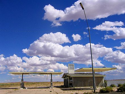 "The ghost town of Two Guns, Arizona, once featured a zoo, gift shop, restaurant, campground, gas station, and ""death cave"". Abandoned gas station - Two Guns, Arizona.jpg"