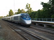 Acela racing past BWI