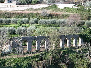 Eboli -  Remaining arches of the Roman aqueduct.