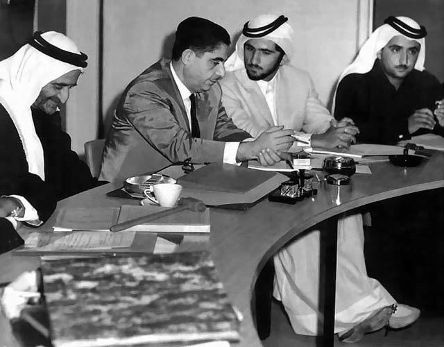 Adi with the three rulers of Dubai