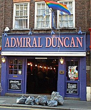 Soho - The Admiral Duncan pub, Soho landmark and site of the Soho nail-bombing