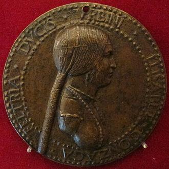 Adriano Fiorentino - medal featuring the profile of Elisabetta Gonzaga, Duchess of Urbino by Adriano Fiorentino, 1495