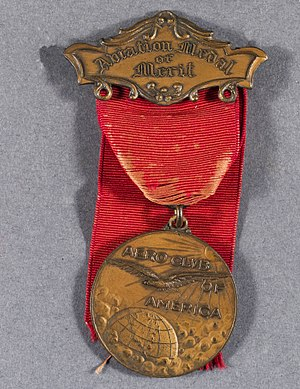 Aero Club of America - Aviation Medal of Merit issued by Aero Club of America, given to 33 military aviators who served in Britain and France during WWI.