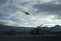 Afghan Air Force Mi-17 helicopters prepare to depart from the helicopter landing zone at Forward Operating Base Thunder in Paktia province, Afghanistan, Nov. 18, 2013, as part of a routine training flight 131118-A-CX194-004.jpg