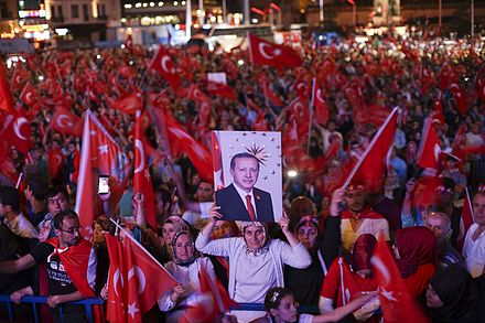 Turkish anti-coup rally in support of President Recep Tayyip Erdogan, 22 July 2016 After coup nightly demonstartion of president Erdogan supporters. Istanbul, Turkey, Eastern Europe and Western Asia. 22 July,2016.jpg