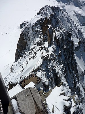 Cosmiques Hut - View from Aiguille du Midi showing position of Cosmiques Hut