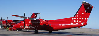Air Greenland - Bombardier Dash 8 turboprops were added to the Air Greenland fleet in 2010 and are used for scheduled flights and charter flights, such as shuttle service for the Inuit Circumpolar Council 2010 conference in Nuuk.