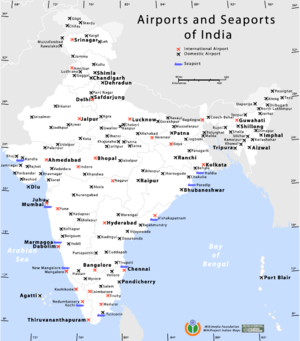 Ports in India - Map showing the location of airports and seaports in India