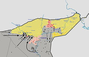 Eastern al-Hasakah offensive - Map of the Al-Hasakah offensive in progress, on 24 February 2015, showing the YPG and ISIL offensives on both sides of the Governorate.