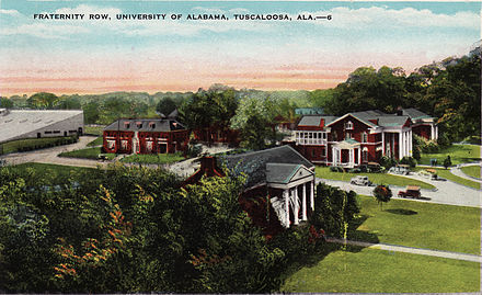 Fraternity Row, c. 1943 Alabama Frat Row.jpg