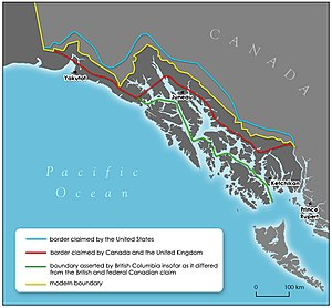 Alaska boundary dispute - Varying claims in Southeast Alaska before arbitration in 1903.