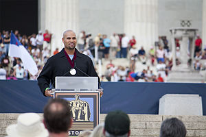 Restoring Honor rally - Albert Pujols during a speech at the rally