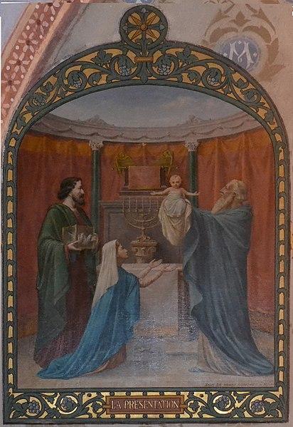 Peinture à l'huile sur toile marouflée représentant la Présentation de Jésus au Temple, datée 1913, dans la chapelle de la Vierge de l'église de Leyment