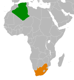Map Indicating Locations Of Algeria And South Africa