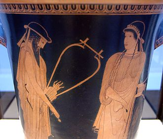 Brygos Painter - Alcaeus and Sappho, Side A of an Attic red-figure kalathos, ca. 470 BC. From Akragas, Staatliche Antikensammlungen