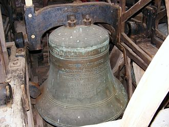 John Taylor & Co - Tenor bell of St Mary's parish church, Almeley, Herefordshire. Taylor's cast and hung the bell in 1960.