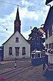 Alte Kirche Fluntern with tram entering loop, 1979.jpg
