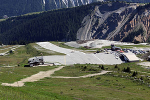 Altiport - Courchevel Altiport, showing the sloped runway