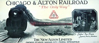 Alton Limited - Promotional blotter for the re-equipped Alton Limited in 1924