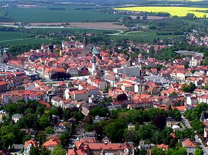 Lusatian League - An aerial photo of Bautzen taken in spring.
