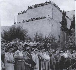 Kfar Etzion massacre - Funeral procession leaving from Jewish Agency building, Jerusalem