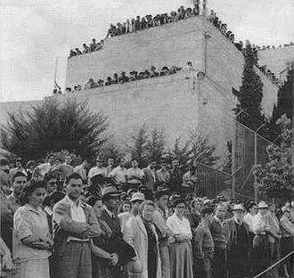 Kfar Etzion massacre - Funeral procession leaving from Jewish Agency building, Jerusalem