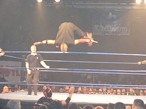 Amazing Red - Red performing a somersault plancha onto Frightmare at Chikara's 2011 King of Trios.