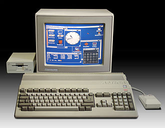 History of the Amiga - An Amiga 500, with 1084S RGB monitor and A1010 floppy disk drive. (1987)