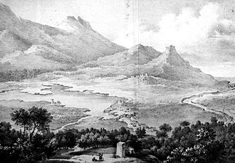 Thucydides - The ruins of Amphipolis as envisaged by E. Cousinéry in 1831: the bridge over the Strymon, the city fortifications, and the acropolis