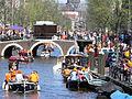 Amsterdam - Koninginnedag 2012 - Boats Oudezijds voorburgwal.JPG