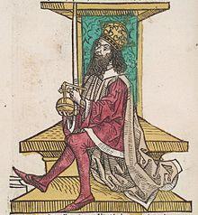 II. András a trónon (metszet)