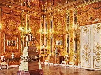 Amber Room -  Catherine Palace. The Amber Room in 1917.