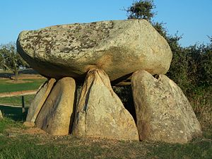 Architecture of Portugal - Anta (dolmen) in Cabeção, near Mora, in the Alentejo.