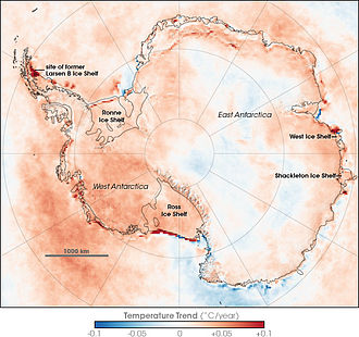 Antarctic Skin (the roughly top millimeter of land, sea, snow, or ice) temperature trends between 1981 and 2007, based on thermal infrared observations made by a series of NOAA satellite sensors; note that they do not necessarily reflect air temperature trends. Antarctic Temperature Trend 1981-2007.jpg