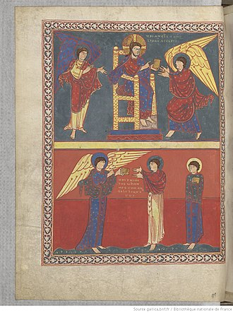 Book of Revelation - St. John receives his Revelation. Saint-Sever Beatus, 11th century.