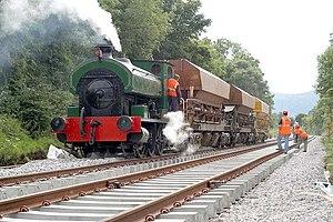 Railway Preservation Society of Ireland - 'R. H. Smyth' dropping ballast near Jordanstown in August 2005