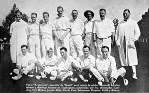 Argentina national cricket team - The Argentina team of 1921.