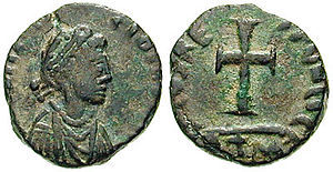 Galla Placidia - Galla Placidia on a coin ca. 430